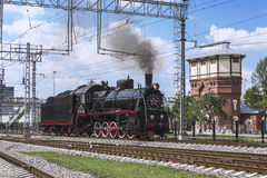 Демонстрация восстановленных винтажных локомотивов на торжестве дня железнодорожных войск Российской Федерации в Москве Стоковые Изображения RF