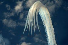 Демонстрация высшего пилотажа стрелок RAF красная в Southport 2016 стоковые изображения rf