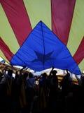 Демонстрация для свободы и против политических заключенных в вертикали Барселоны Стоковые Изображения