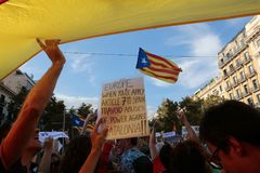 Демонстрация для свободы и против политических заключенных в вертикали Барселоны Стоковая Фотография