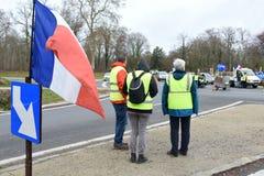 Демонстрация желтого жилета стоковые изображения rf