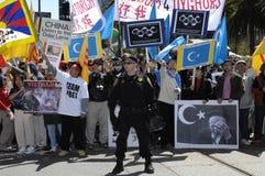 демонстрация освобождает Тибет Стоковые Фотографии RF
