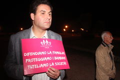 Демонстрация против семей гомосексуалиста двигая Manuf льет Tous Стоковые Изображения RF