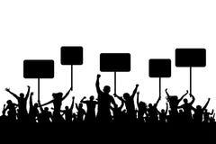 Демонстрация, силуэт людей толпы протеста с знаменем Стоковое Изображение RF