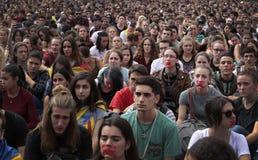 Демонстрация студентов Барселоны для независимости широко Стоковое фото RF