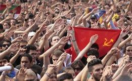 Демонстрация студентов Барселоны для независимости Стоковые Фотографии RF