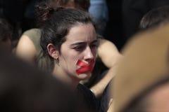 Демонстрация студентов Барселоны для независимости Стоковая Фотография RF