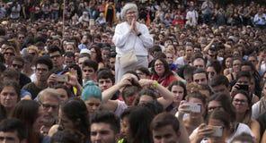 Демонстрация студентов Барселоны для независимости Стоковое Фото