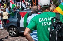Демонстрация для мира между Израилем и Палестиной, против израильского взрыва в Газа стоковые изображения rf