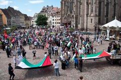Демонстрация для мира между Израилем и Палестиной, против израильского взрыва в Газа стоковое изображение rf