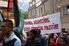 Демонстрация для мира между Израилем и Палестиной, против израильского взрыва в Газа стоковое изображение