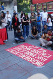 Демонстрация для того чтобы опротестовать заключать в тюрьму активистов студенческого движения Стоковое Изображение RF
