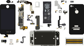 Демонтированные компоненты Iphone 4S Стоковая Фотография