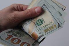 100 денег долларовых банкнот Стоковое Изображение