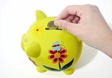 Денежный ящик свиньи, сохраняя концепция денег Стоковое Фото