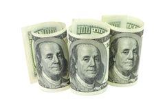 Деноминации 100 долларов американца свернутых вверх Стоковое Фото