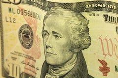 Деноминация 10 долларов предпосылки Стоковое Фото