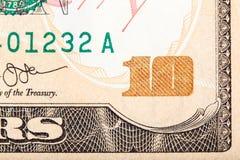 Деноминация съемки конца-вверх 10 долларов Стоковое Фото