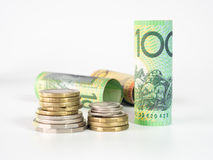 Деньги Австралии доллара на белой предпосылке Стоковое Изображение RF