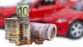 деньги автомобилей Стоковое Изображение RF