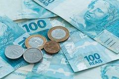 Деньги Бразилии, reais, высокие деноминации Стоковое Фото