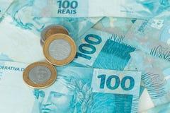 Деньги Бразилии, reais, высокие деноминации Стоковые Фотографии RF