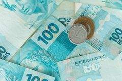 Деньги Бразилии, reais, высокие деноминации Стоковое Изображение