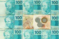 Деньги Бразилии, reais, высокие деноминации Стоковые Изображения