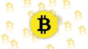 Деньги вектора Bitcoin белые желтые стоковые изображения rf