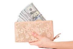 Деньги в бумажнике Полный бумажник американских долларов Стоковое Изображение
