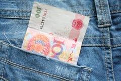 Деньги в карманн джинсов Стоковые Изображения RF
