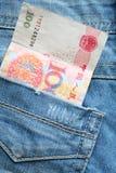 Деньги в карманн джинсов Стоковое Изображение RF