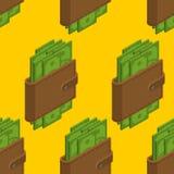Деньги в картине бумажника безшовной Получите внутри предпосылку наличными портмона иллюстрация вектора
