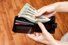 Деньги в конце бумажника вверх стоковое фото rf