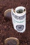 Деньги в почве Стоковые Изображения