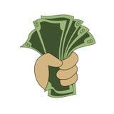 Деньги в руке иллюстрация штока