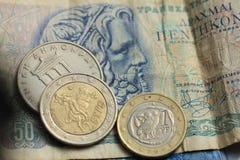 Деньги грека и евро Стоковое Фото
