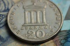 Деньги грека и евро Стоковые Фотографии RF
