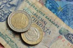 Деньги грека и евро Стоковые Изображения RF