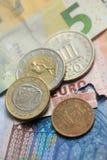 Деньги грека и евро Стоковое Изображение RF