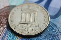 Деньги грека и евро Стоковая Фотография RF