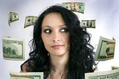 деньги девушки думают Стоковые Изображения RF