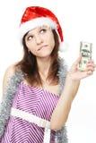 деньги девушки заботливые Стоковые Изображения