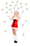 деньги девушки рождества Стоковое Изображение RF