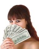 деньги девушки стоковые фотографии rf