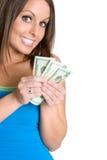 деньги девушки стоковые изображения