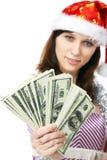 деньги девушки claus предлагают santa Стоковая Фотография RF
