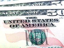 Деньги, деталь банкноты 50 долларов, США Стоковые Изображения