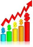 деньги диаграммы увеличивая Стоковая Фотография RF