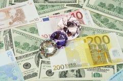 деньги диамантов Стоковые Фотографии RF